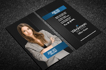 vertical windermere business card silver sparkles - Real Estate Business Card